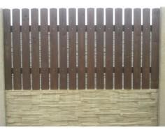 Betonový plot 11 jednostranný přírodní - vyplň dřevo 1m