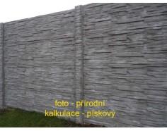 Betonový plot 11 Dekor jednostranný pískový